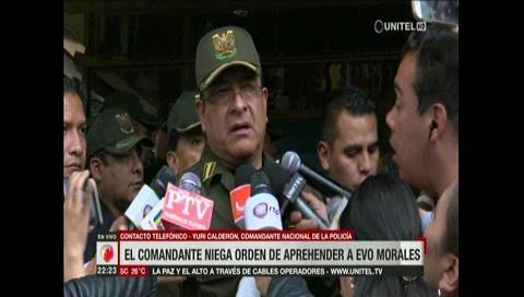 Comandante de la Policía niega orden de aprehensión a Evo Morales