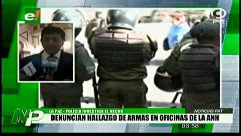 Denuncian el hallazgo de armas de fuego en las oficinas de la ANH