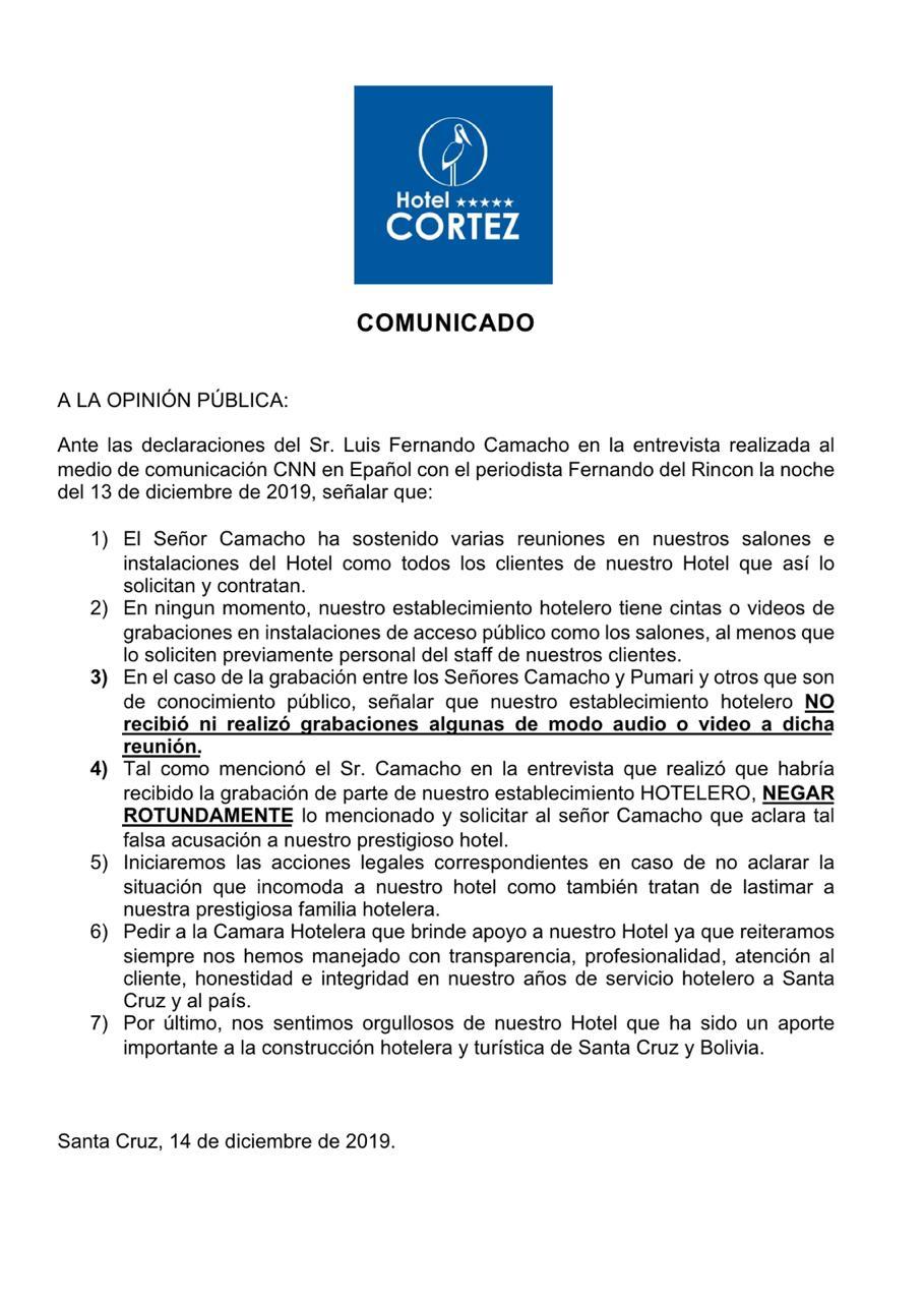 En respuesta a Camacho, Hotel Cortez aclara que no realiza grabaciones de reuniones en sus instalaciones