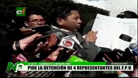 Leopoldo Chui presenta demanda contra dirigentes del FPV