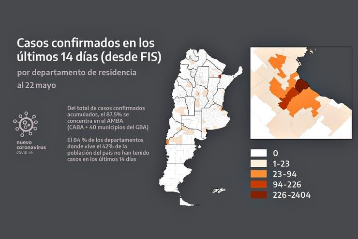 El detalle de los casos confirmados en el país que mostró Fernández