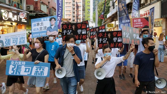 Marcha de campaña para las elecciones primarias en Hong Kong.