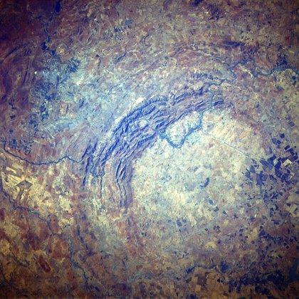Una imagen satelital del cráter Vredefort, en Sudáfrica