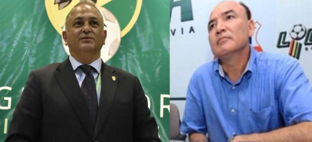 Costa (izq.), presidente de la FBF, y Menacho, dirigente de Guabirá. Fotos. Internet