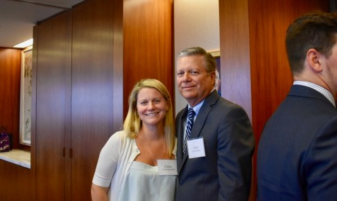 Judge Gibbons' granddaughter, Claire Koshland Whipple, who is a member of the fund launch committee, with her father, John Whipple