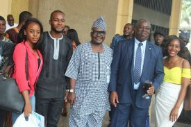 L-R Faith, a member of tax club, Mr Yemi Adebo president, the Tax Club, Mr Babatunde Fowler with Alhaji TK OSeni also of FIRS and Omesham, a member of the Tax Club