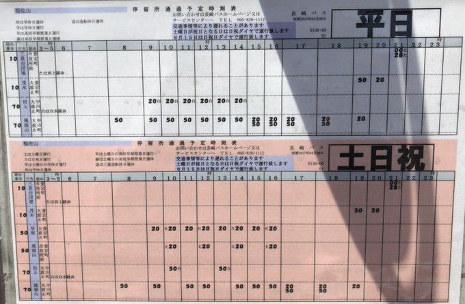 稲佐山 中腹 路線バス 時刻表