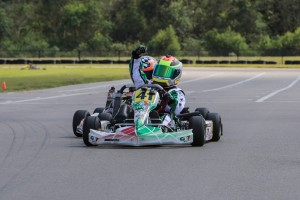 Dylan Tavella went from last in qualifying to first at the Micro Max checkered flag (Photo: Ken Johnson - Studio52.us)