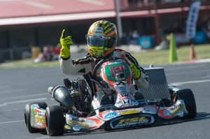 Great Britain's Jordon Lennox celebrated twice at the stripe at the SKUSA SpringNationals (Photo: On Track Promotions - otp.ca)