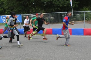 Rok Cup USA's Andre Martins leads the running race against Batman