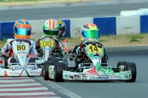 Dylan Tavella looks to stay in front of the Mini Rok Cadet field (Photo: DavidLeePhoto.com)