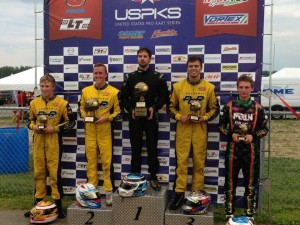 Three Checkered Motorsports/PCR drivers on the Leopard Pro podium Saturday