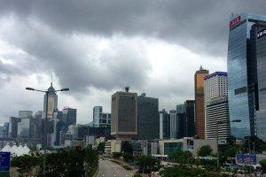 The skyline in Hong Kong