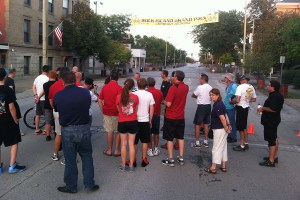 Track walk Friday night conducted by Margay's Keith Freber and 11-time RIGP winner Jason Birdsell