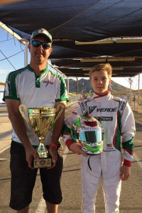 Tiffin Willareth and Lance Fenderson celebrating the victory at the Superkarts! USA SpringNationals in Phoenix