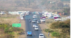 Taxis blocked roads