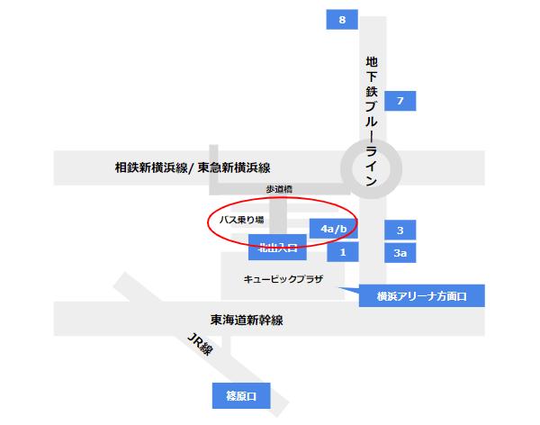 新横浜駅のバス乗り場の場所