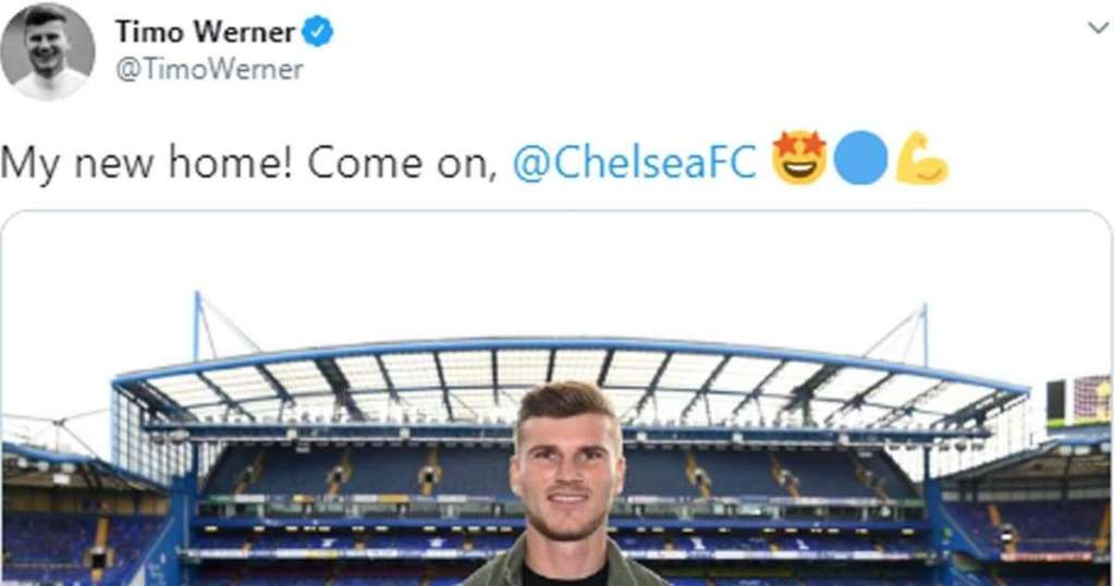 Chelsea signing Timo Werner posts first picture at his new.img