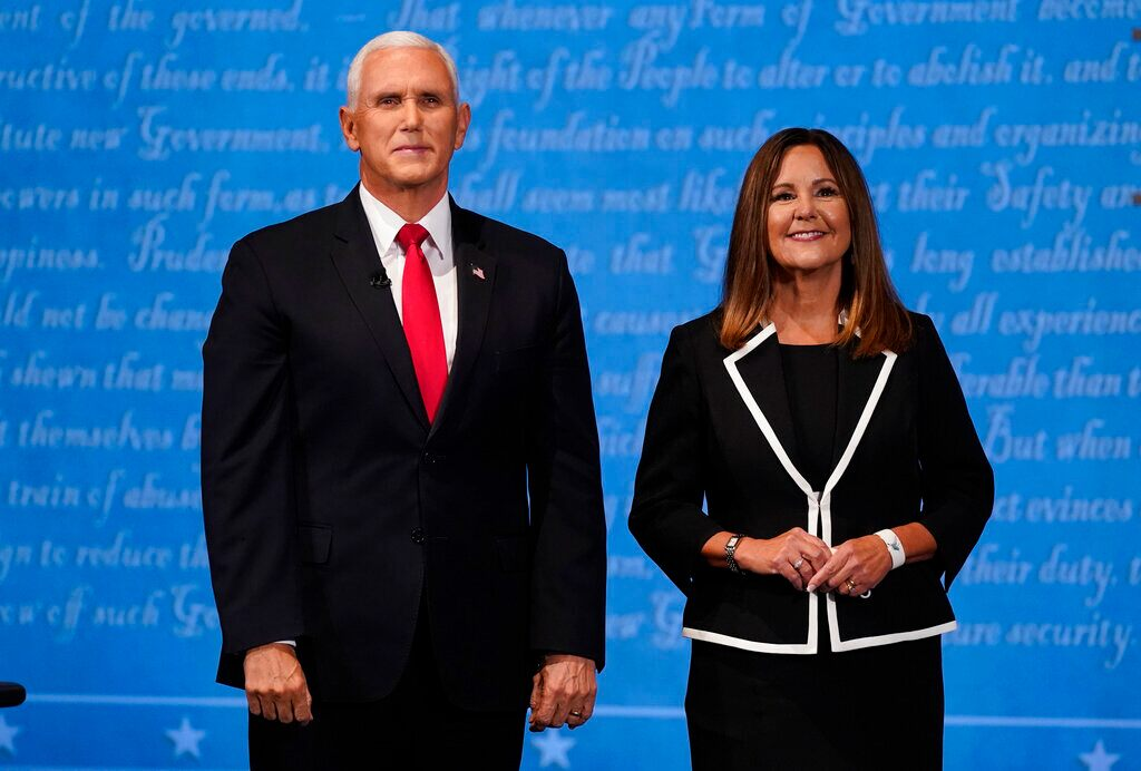 Karen Pence's office says both sides agreed to no masks at end of debate