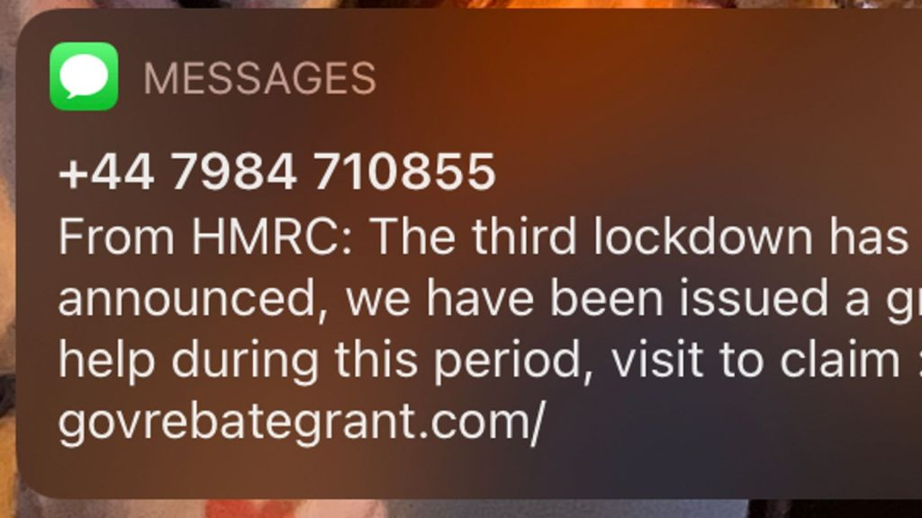 The scam text claims to be from HMRC, but links to a non gov.uk website