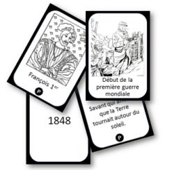"""Cartes recto verso pour mémoriser les """"repères"""" du programme."""