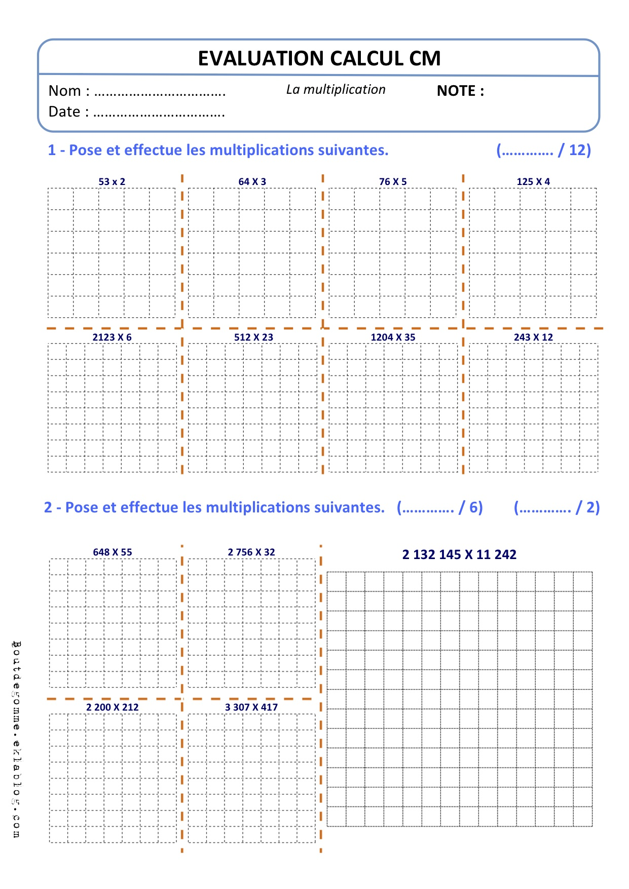 multiplication evaluation sur les tables de