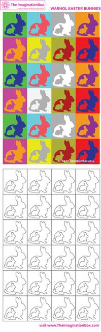 'Warhol Easter Bunnies'. Have fun exploring how colours work with each other. Free printable activity sheet available at The ImaginationBox: