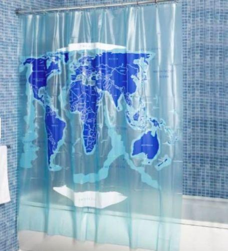 Croydex-PVC-etanche-salle-de-bains-facile-a-nettoyer-vinyle-carte-du-monde-Rideau-de-douche