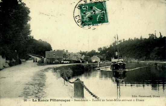 Peut être une image de plein air et texte qui dit '90 Edit. Passemard, Dinan La Rance Pitteresque Beaudouin Bateau de Saint-Malo arrivant Dinan'