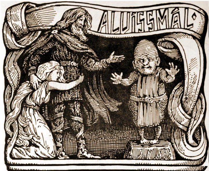 Thor protecting his daughter Thrudr, from the dwarf Alvis (Image: W.G. Collingwood. 1908/public domain)
