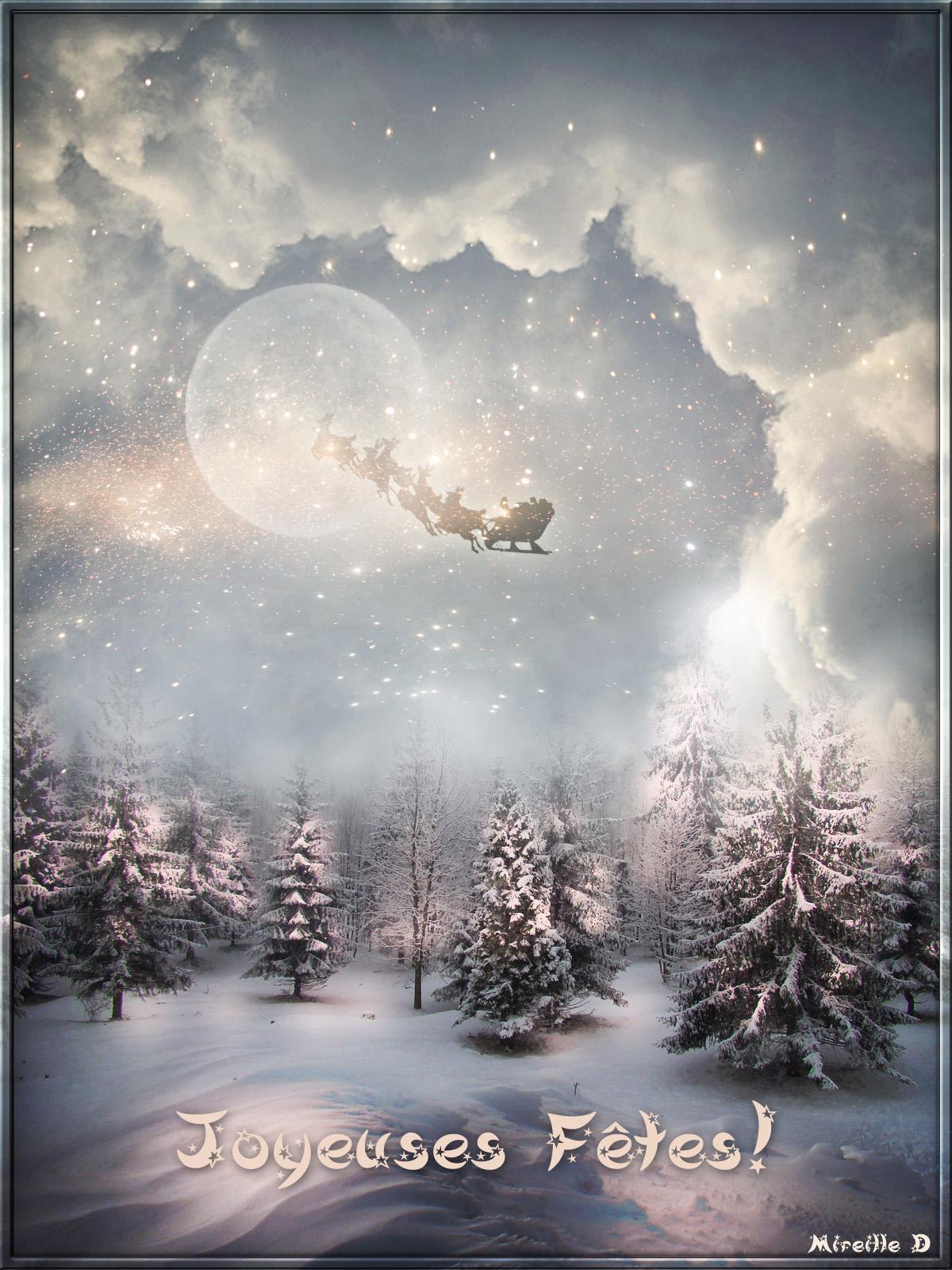 Carte De Joyeuses Ftes Par Une Nuit De Nol Magique