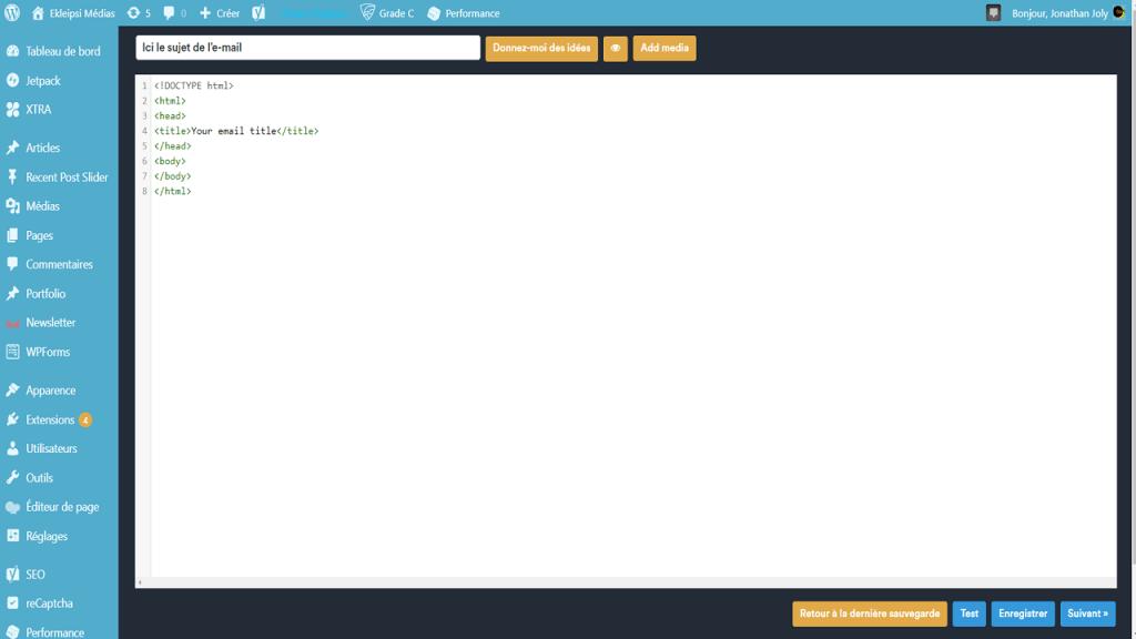 Raw HTML pour créer une newsletter