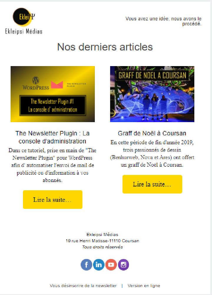 creation de newsletter avec un plugin wordpress