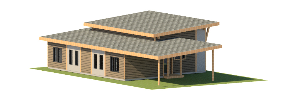 Low energy house design with carport