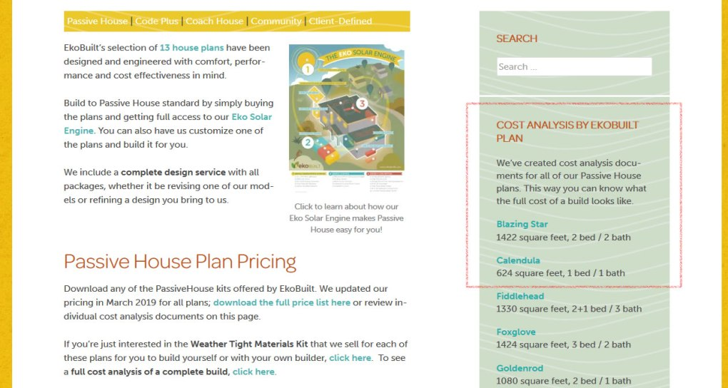 Passive house pricing for plans and construction