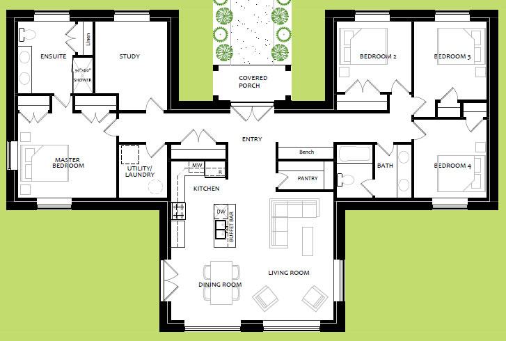 Minor variation on the Sunflower houseplan; slightly more square footage, bedroom wings flipped