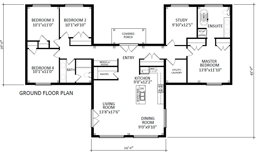 Sunflower house plan with 4 + 1 bedrooms and 2 bathrooms