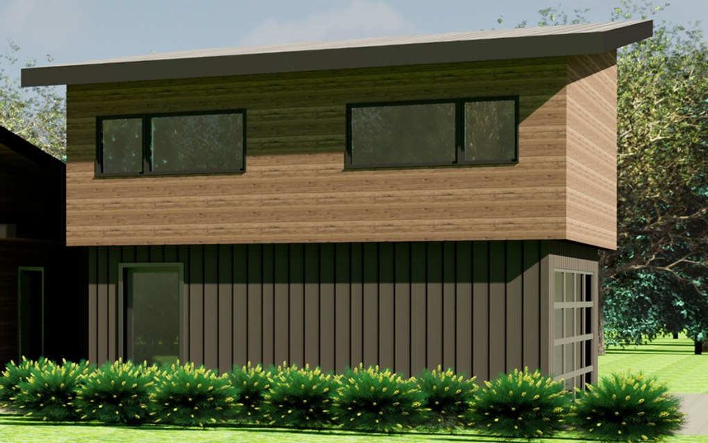 The Pine Valley coach house plan exterior; shown over optional 2-car garage