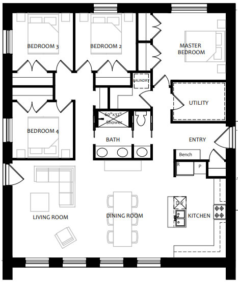 Floor plan of a four bedroom home with open plan main living spaces.