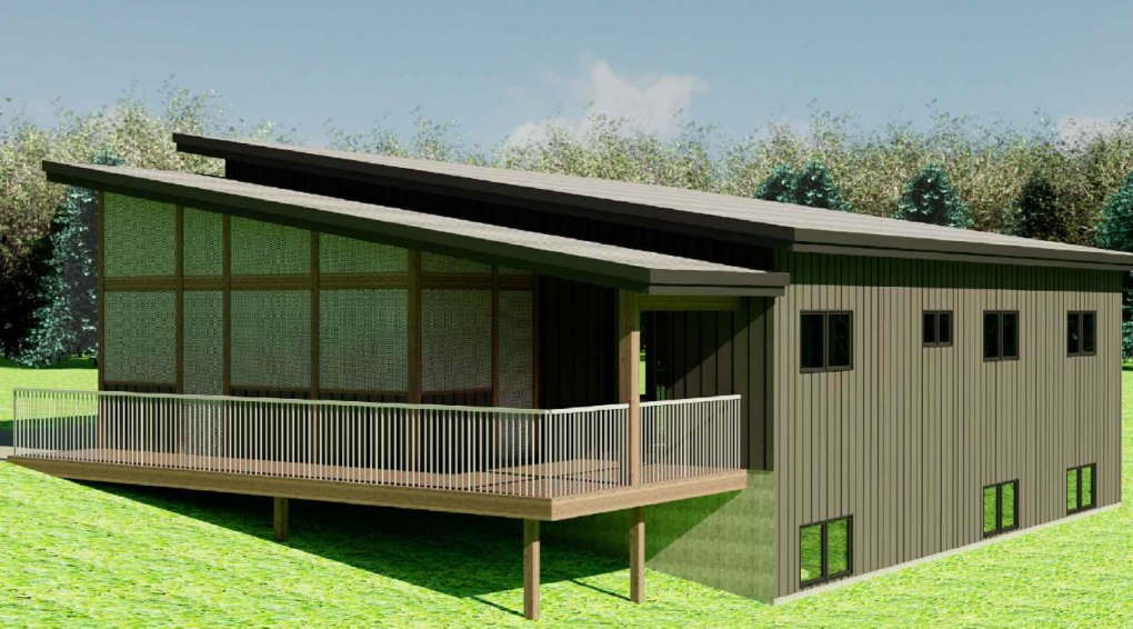 The Hummingbird house plan with exterior deck and porch