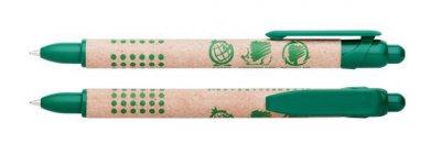 Kuličkové pero z recyklovaného papíru a bio-plastu z kukuřičného škrobu.