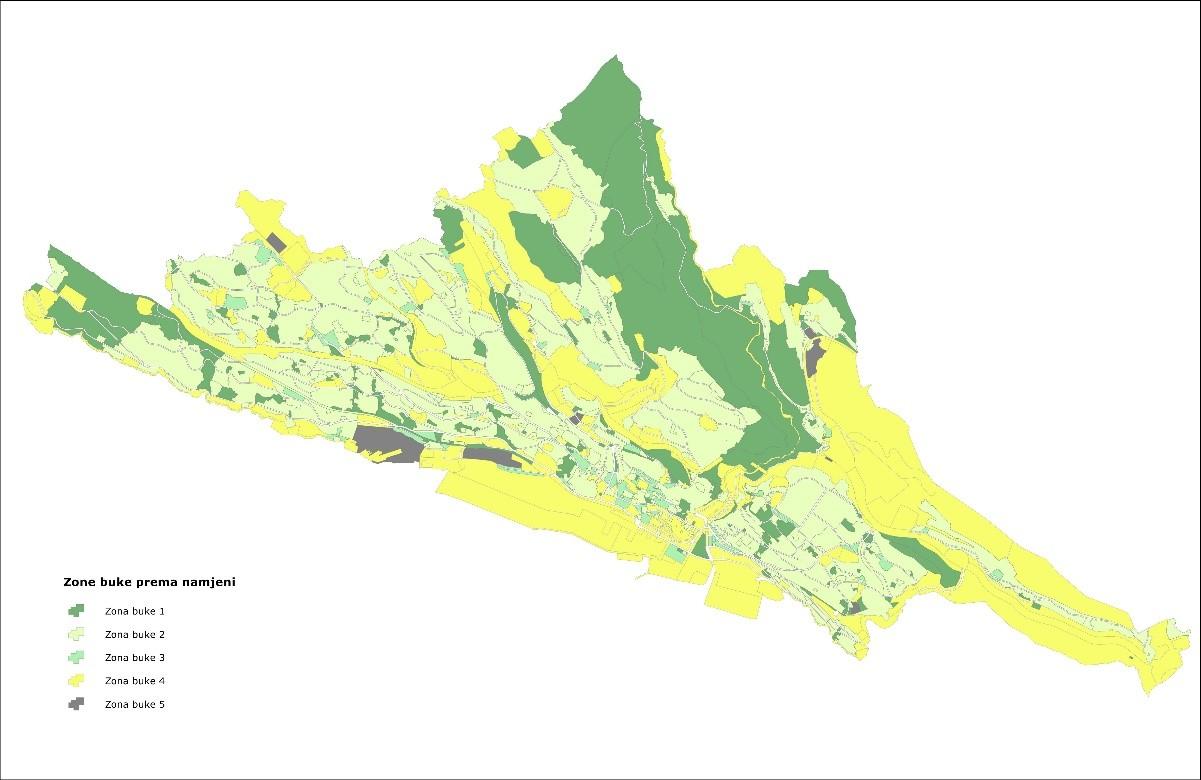 Podjela Grada Rijeke na zone buke prema namjeni i korištenju prostora