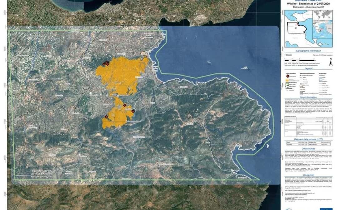 Η υπηρεσία Copernicus έδωσε στην δημοσιότητα τον χάρτη με τις καμένες δασικές εκτάσεις και τους ελαιώνες.