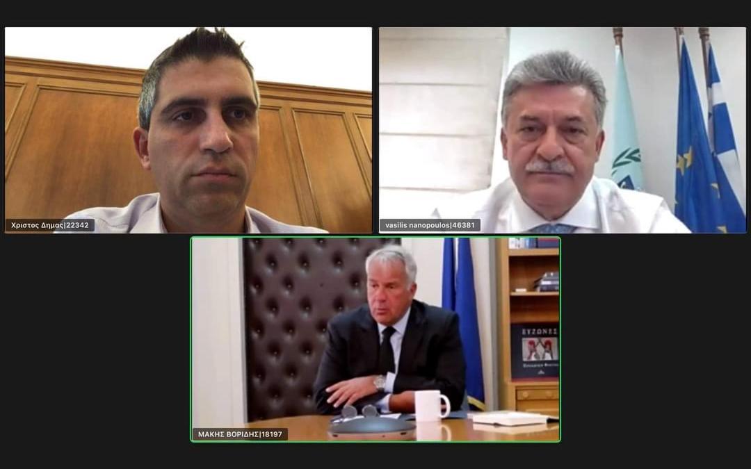 Διαδικτυακή συζήτηση του Δημάρχου Κορινθίων με το Μάκη Βορίδη και το Χρίστο Δήμα για τις καταστροφές από τις πυρκαγιές.