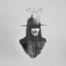"""Double Exposure HUGO WEAVING as V in Warner Bros. Pictures' and Virtual Studios' action thriller """"V for Vendetta."""""""