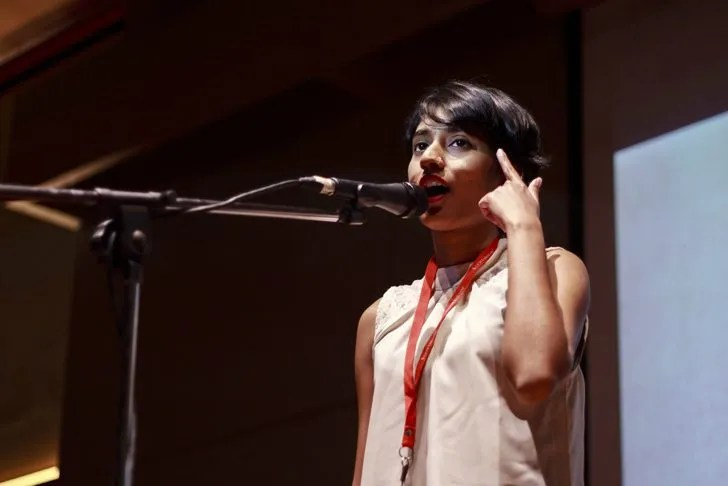 Seasoned poetry slammer Enbah Nilah said the Poetry Slam Competition 2016 was a good platform for her to test some of her lesser known poems. Image courtesy of UCSI University.
