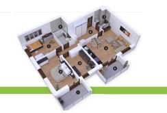 rzut z góry na rozkład pomieszczeń w apartamencie w Inowrocławiu na sprzedaż