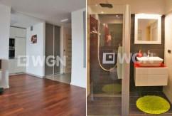 na zdjęciu po lewej przedpokój, po prawej łazienka w apartamencie w Szczecinie na sprzedaż