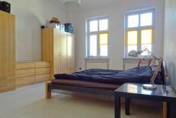 widok na sypialnię w ekskluzywnym apartamencie do wynajęcia w Szczecinie