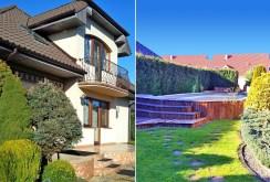 na zdjęciu po lewej front willi, po prawej - basen